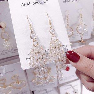 E1147 Fashion handmade crystal beaded Tassel Earrings women Korean style long thin face Earrings Ear Hook accessories