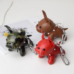 Cão Bulldog Chaveiro PU Leather Keychain saco titular Encantos Moda Design Animal de viaturas pingentes para as mulheres meninas homens camuflagem Keyring Anéis