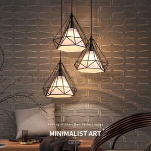 Lámparas colgantes nórdicas Bar Fiesta Luz personalidad iluminación comedor mesa de iluminación bar tres araña de restaurante de hierro forjado diamante