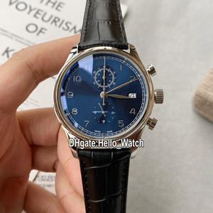Baratos Nueva portugués cronógrafo de 42 mm Caja de acero IW390406 Dial Azul Miyota cuarzo Reloj Cronómetro correa de cuero Relojes Hello_Watch