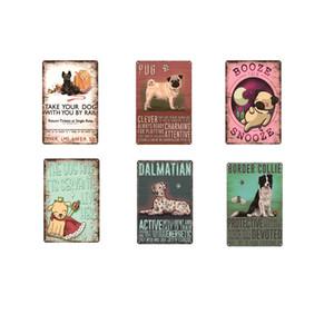 Kalay Retro 20x30cm yap Dekoratif Duvar Sanatı Plates Dışında Kişisel Köpek Siyah Labrador Vintage Metal İşaretler Ev Garaj Bahçe Livingroom atın