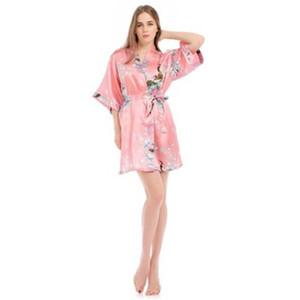 2 Piece Set Women Silk Peacock Kimono Robes Sexy Lingerie Women Wedding Party Bridesmaid Robe Satin Nightgown Bathrobe Pijam Clothing