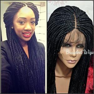 9A yüksek kalite dantel frontal örgüler peruk bebek saç ile tam sentetik el yapımı koleksiyonu uzun örgülü dantel peruk siyah kadınlar için