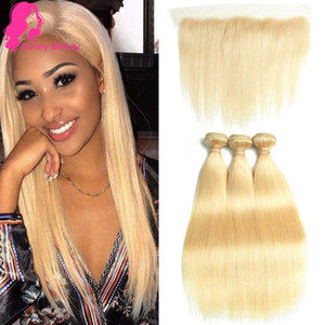 613 Blonde Human Hair Bundles with Ear to Ear Frontal Brazilian Straight Hairs 3 Bundles with 13x4 Lace Frontal Closure 100% Stright Weave