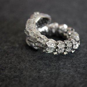 Snake Diamond Ring women Open animal Designer Luxury Silver Rings Wedding Party Fine Jewelry Free Size