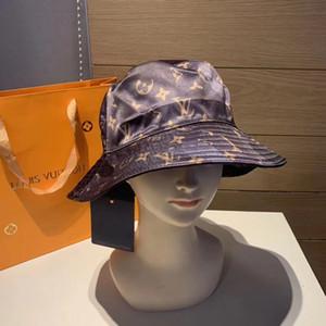 marca de diseño de alta calidad de tela mezclado letras de color puro del sombrero del cubo de moda Fold Caps capaces Cap plegable parasol Negro Pescador Playa