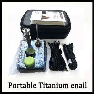 Portable Titanium enail Electric dab nail PID Controlador de temperatura E Nail Dnail kit cera vaporizador 16MM 20MM plataforma petrolera dabber caja vidrio bong