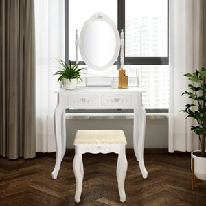 Home Modern 4 Drawers Tri-fold Mirror Dresser with Dressing Stool White 360-Degree Rotation Removable American Straight Hair