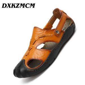 DXKZMCM 2019 Men Summer Sandals Genuine Leather Casual Shoes Man Roman Style Beach Sandals  Men Shoes Big Size 38-46