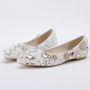 Flache Bling Bling Floral Braut Hochzeit Schuhe Perle Kristall Strass hochwertige Damen Bankett Prom Schuhe formale luxuriöse
