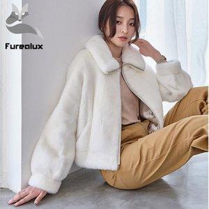 Furealux Gerçek Coat Kadınlar Giyim 2019 Kış Ceket Kadınlar Koreli Kısa Palto ve Ceketler Vintage Kürk
