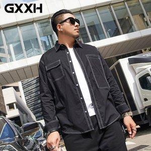 GXXH Plus Size 5XL 6XL 7XL 97% Cotton Casual Shirt Men Long Sleeved New Spring Autumn Business Big Large High Quality Fashion