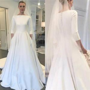 2020 보헤미안 웨딩 드레스 긴팔 티셔츠 메건 마클 스타일 신부 가운 단추 후면 스윕 트리 안 플러스 크기 - 라인 웨딩 드레스