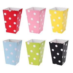 12pcs Folding Circle Pattern Paper Popcorn Boxes for Wedding Birthday Party D4X1