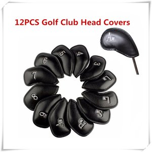 Exquisite PU Golf Club Iron Head Covers Protector Golf Accessories 12PCS Lot Golf Club Head Covers High Quality