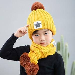 Enfants Chapeaux d'hiver Ensembles d'hiver écharpe tricot chaud Pompon Boy Caps Bébés filles Tricoté Automne Hiver Hat 07