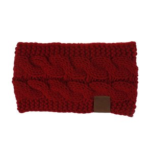 Wine Red Spring Winter Ear Warmer Headband For Women Knitted Crochet Twist Hair Band Girls Turban Elastic Wide Hair Accessories
