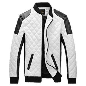 Erkek Ceketler Kış ve Sonbahar PU Deri Mont Erkek Siyah ve Beyaz Moda Ince Ekose Ceket