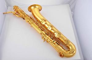 Unbranded può personalizzare logo baritono sassofono corpo in ottone lacca oro superficie e strumenti musicali piatti sax con bocchino custodia in tela