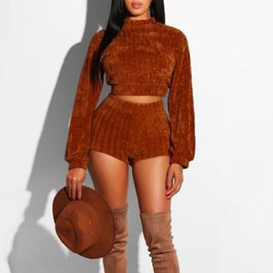 Two Piece Set Women Clothes Autumn Winter Outfits Long Sleeve Knit Sweater Tops+Bodycon Shorts Suit Sexy Matching Sets