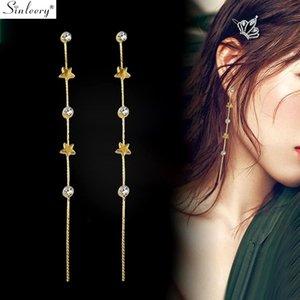 SINLEERY Simple Little Star Round strass long de ligne Boucles d'oreilles Femme couleur d'or de mariage Bijoux Cadeaux ES233 BLU