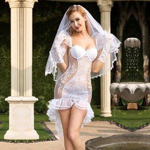 Perspective sexy lingerie bridal wear white charming wedding dress plays uniform temptation wholesale 6325