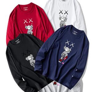 2020 KAWS Kapüşonlular 19FW Erkek Pamuk Yüksek Kaliteli Cartooon Baskı Uzun Kollu Tişörtü Kapüşonlular Sonbahar Kış Elbise