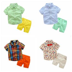 Kids Clothes estate del bambino Abiti boutique di moda Outfits Ragazzi Pantaloncini Plaid Shirt stampata floreale coprono gli insiemi del fumetto del capretto vestiti DYP352