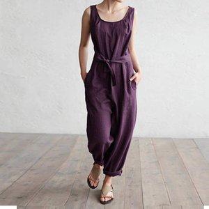 Macacão Womens Bodysuit Mulheres macacão 2019 Verão calças Office Work Harem Pants mangas Casual Elegante Linho Macacões Palazzo 5XL