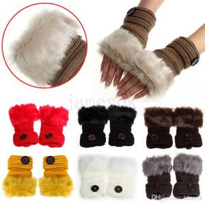 guanti Button ragazza delle donne lavorato a maglia Faux della pelliccia del coniglio guanti senza dita Winter Warmer all'aperto Mittens regalo variopinto di modo Accessori di Natale