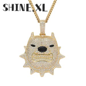 Ожерелье Hip Hop Rock ювелирных изделий 18K позолоченный собак Подвеска с теннисом цепи Rope Chain Mens подарком ювелирных изделий