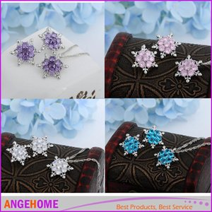 Women Lady Charm Vintage lady Blue Crystal Necklace Snowflake Flower Silver Necklace&Pendants for women best gift