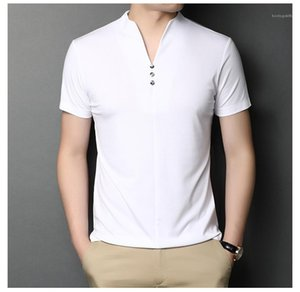 Mens Designer Button T Shirts Summer Short Sleeve Tees Solid Color V Neck Simple Casual Tops