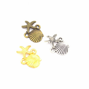 500pcs / lot Shell Starfish Connector Connector Charms Ciondoli Gioielli Making Bracelet Recondings Accessori fai da te 13x18mm Charms Beach