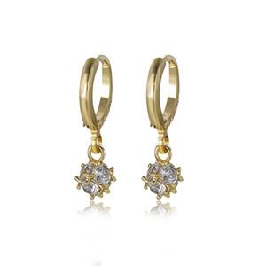 الزركون كروية قلادة المرأة أقراط الطلي 14 كيلو الذهب النحاس سبيكة الكلاسيكية شكل الأزياء والمجوهرات استرخى الثريا b11
