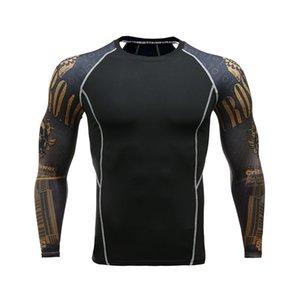 Fitness Hombres Pro Camisas de compresión MMA Rashguard Piel Base Layer Entrenamiento Manga larga Camiseta Crossfit Jiu Jitsu Camiseta homme