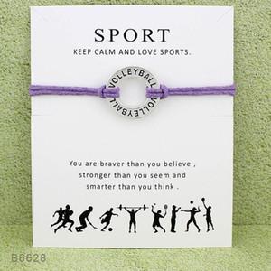 Volleyball SPORT Handgemachte Seil Charme Armbänder für Frauen Männer Freundschaftserklärung Best Wish Schmuck Geschenk Mit Karten