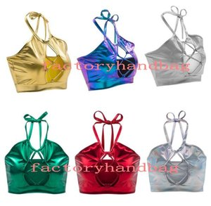 Womens Halter Strap Vest with Straps Tank Tops Metallic Shiny Strapless Crop Top Club Evening Party Sexy Tank Tops