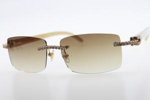 도매 하이 엔드 브랜드 뜨거운 안경 새로운 3524012 다이아몬드 무두질 된 흰색 정품 천연 경적 선글라스 남자 돌 유니섹스 안경 갈색