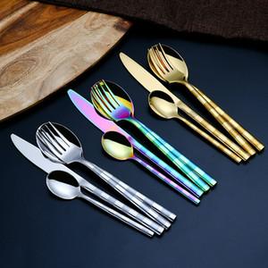 Набор посуды из четырех частей матовая ручка из нержавеющей стали нож вилка ложка ужин обслуживание западная еда наборы посуды хорошо продаются 19 9wd J1