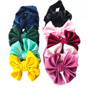 2018 Real Mixed Colors New Fashion Babies Hair Accessories Toddler Princess Velvet Bow Headbands Infant Baby Girls Stretchy Hairbands