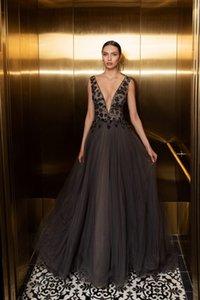 2020 Julie Vino Abendkleider mit tiefem V-Ausschnitt Appliques Sexy Back Tüll Ballkleider bodenlangen Partei-Kleider