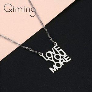 I Love You More Englisch Brief Halskette für Frauen Braut, Verlobung, Hochzeit Schmuckkette Chokers Statement Ketten