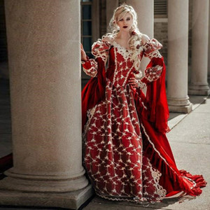 Vintage Medieval Fantasy Ball Gown Wedding Dresses Victorian Halloween Bridal Party Gowns Robes Soiree Red Dresses Plus Size