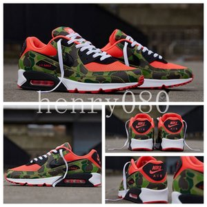 2020 Men NIKE Air max 90 Running Shoes Designer Atmos airmax 90 Reverse Duck Camo Red off Sneakers 90 Trainers classic Sports Chaussures zapatos