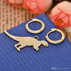 Copper-plated and diamond-studded asymmetrical dinosaur earrings for ladies high-quality jewelry