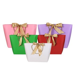 Gift Box Packaging Ribbon Handle Paper Gift Bags Kraft Paper Wedding Favors Bags Package Party Decoration