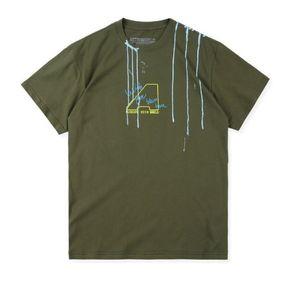 Hombre de las camisetas de alta Army Green Street impresión de la flor de Scott Travis AstroWorld impresión de la flor de Hip Hop de manga corta camiseta ocasional S-XL