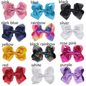 """12 Colors Girls Rainbow Sequins Big Bow Hairpins 18x13cm Children fashion cute sequin hair pins Children hair accessory 8"""""""