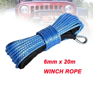 6mm*20m synthetic winch lines uhmwpe fiber rope with sheath for atv utv car accessories free shipping